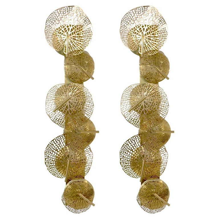 Contemporary Organic Italian Art Design Pair of Perforated Brass Leaf Sconces For Sale