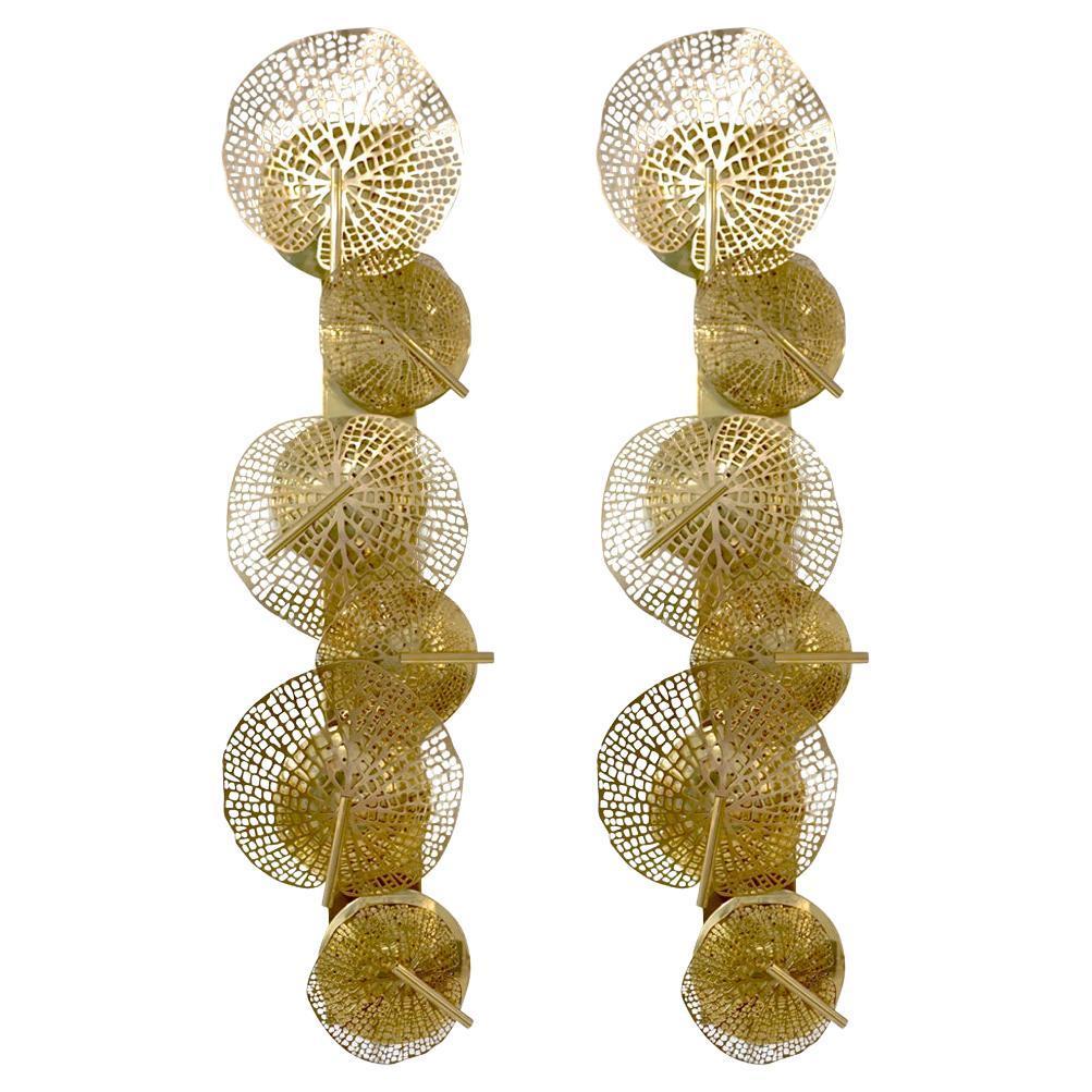 Contemporary Organic Italian Art Design Pair of Perforated Brass Leaf Sconces