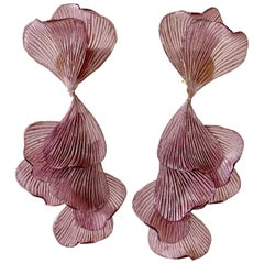 Contemporary Organic Lavender Architectural Statement Earrings