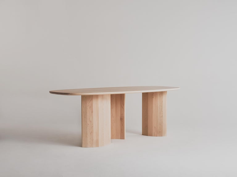 Modern Contemporary Organic Sculptural Maple Wood Dining Table by Campagna, in Stock