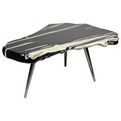 "Contemporary Organic Teak Wood Table ""Black Pearl"" with Stainless Steel Feet"