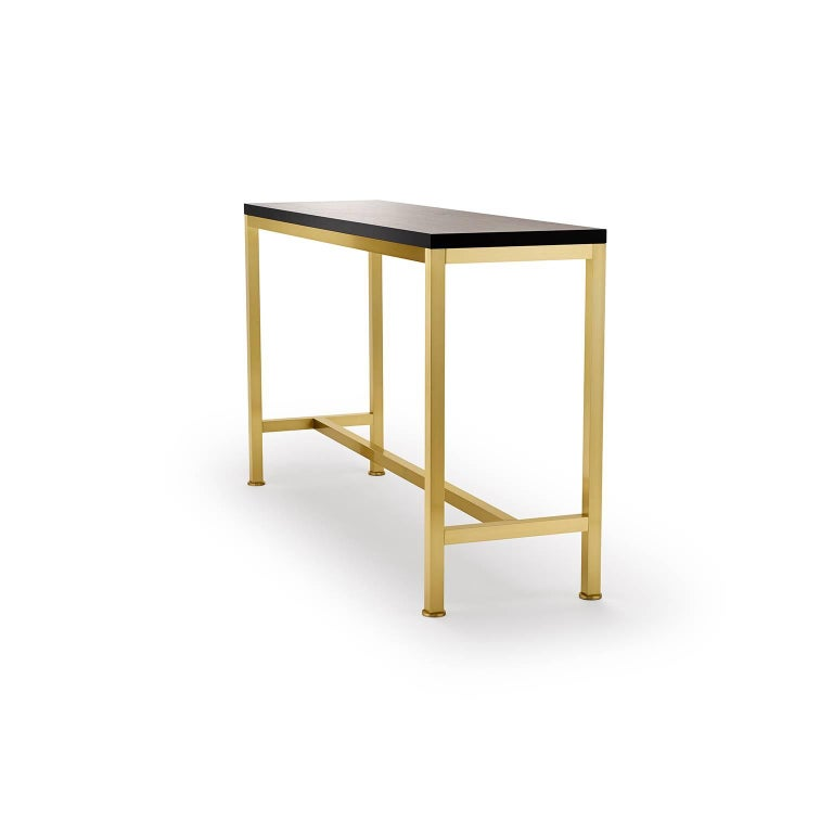 Modern Contemporary Orichal Console Table in Oak or Walnut with Solid Brass Frame For Sale
