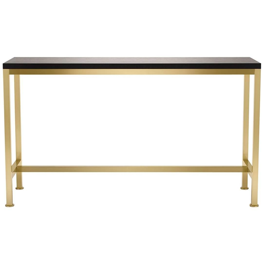 Contemporary Orichal Console Table in Oak or Walnut with Solid Brass Frame