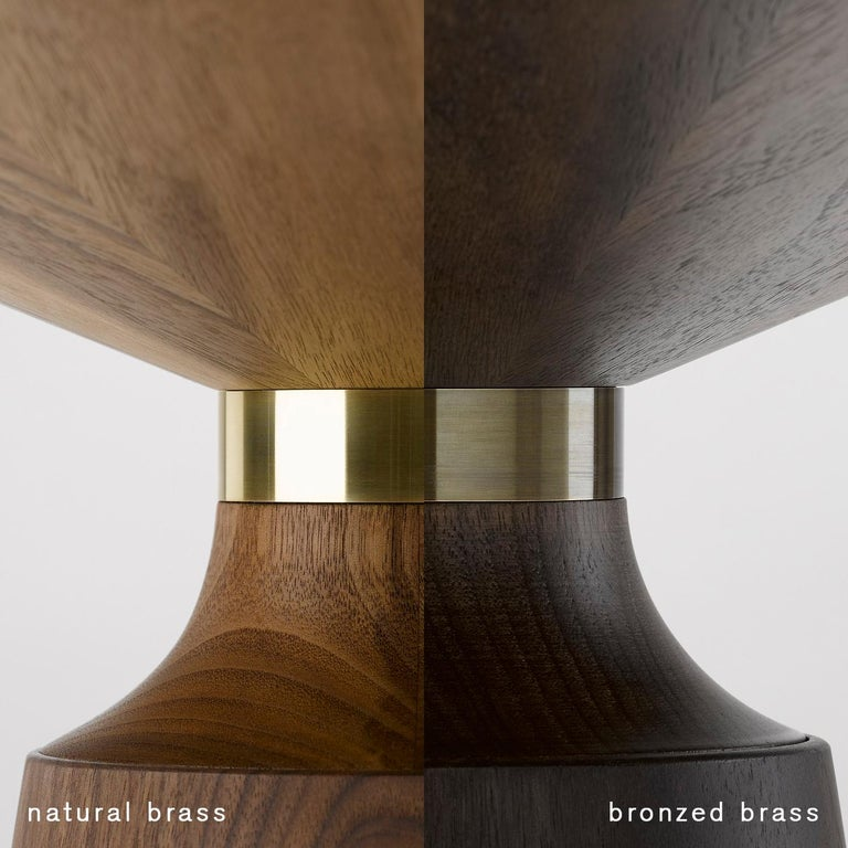 Bronzed Contemporary Orichal Lamp Table in Oak or Walnut with Solid Brass Frame For Sale