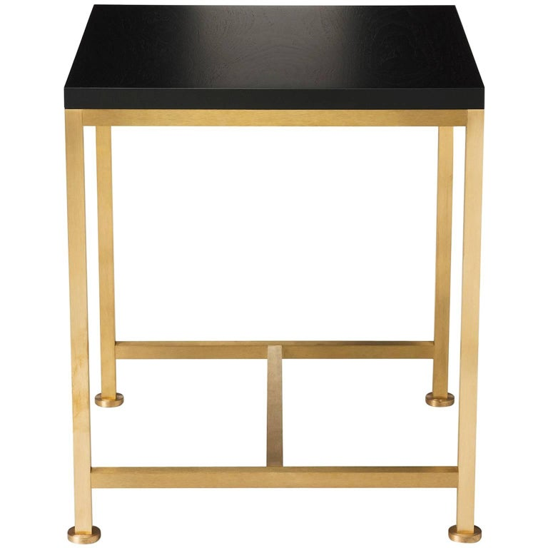 Contemporary Orichal Lamp Table in Oak or Walnut with Solid Brass Frame For Sale