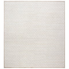 Contemporary Oriental Inspired Beige and White Rug