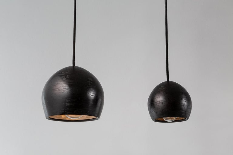 American STACKED Small Ostrich 3-Pendant Light by Richard Haining, Ebonized Ash, Custom For Sale
