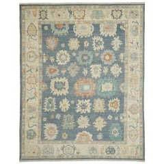 Contemporary Oushak Area Rug with Pastel Colors and French Transitional Style