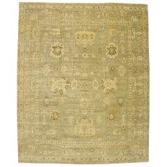 Contemporary Oushak Area Rug with Transitional Style and Warm, Neutral Colors