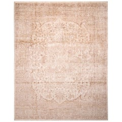 Contemporary Oushak Beige and Eggplant Brown Wool and Silk Rug