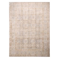 Contemporary Oushak Beige Brown and Blue Wool and Silk Rug