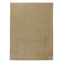 Contemporary Oushak Beige & Brown Handwoven Wool Rug