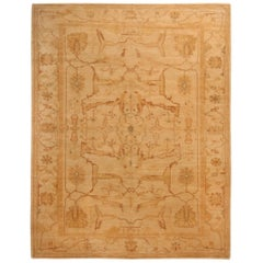 Contemporary Oushak Inspired Design Copper and Beige Wool Rug