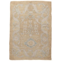 Contemporary Oushak Persian Rug with Ivory Floral Patterns