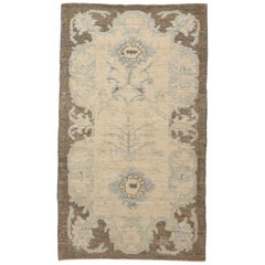 Contemporary Oushak Persian Rug with One-Piece Floral Field in Ivory and Blue
