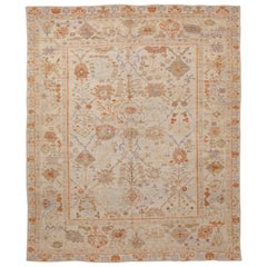 Contemporary Oushak Persian Rug with Orange and Blue Floral Details