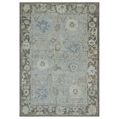 Contemporary Oushak Rug, Floral Patterns in Navy and Ivory on Purple Gray Field