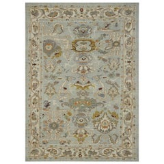 Contemporary Oushak Rug with Floral Patterns in Ivory and Gold on Gray Field