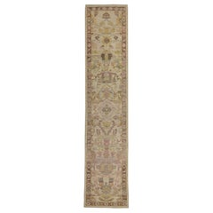 Contemporary Oushak Runner Rug from Turkey with Brown and Pink Floral Patterns