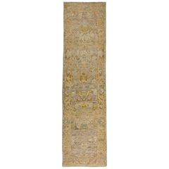 Contemporary Oushak Runner Rug from Turkey with Gold and Brown Floral Patterns