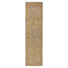 Contemporary Oushak Runner Rug from Turkey with Gold and Pink Floral Patterns