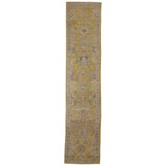 Contemporary Oushak Runner Rug from Turkey with Gold and Pink Flower Details