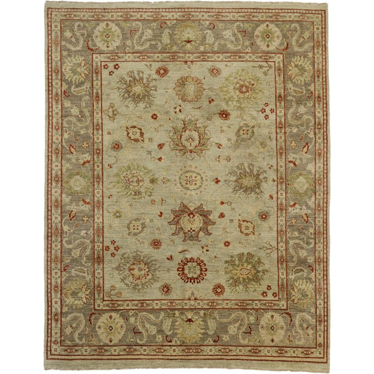 Modern Oushak Rug: Contemporary Oushak Style Rug With Transitional Design For