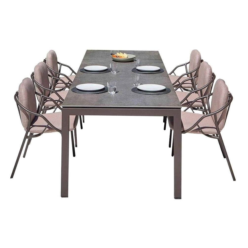 Contemporary Outdoor Dining Set, Ceramic Dining Table & Six Stackable Chairs