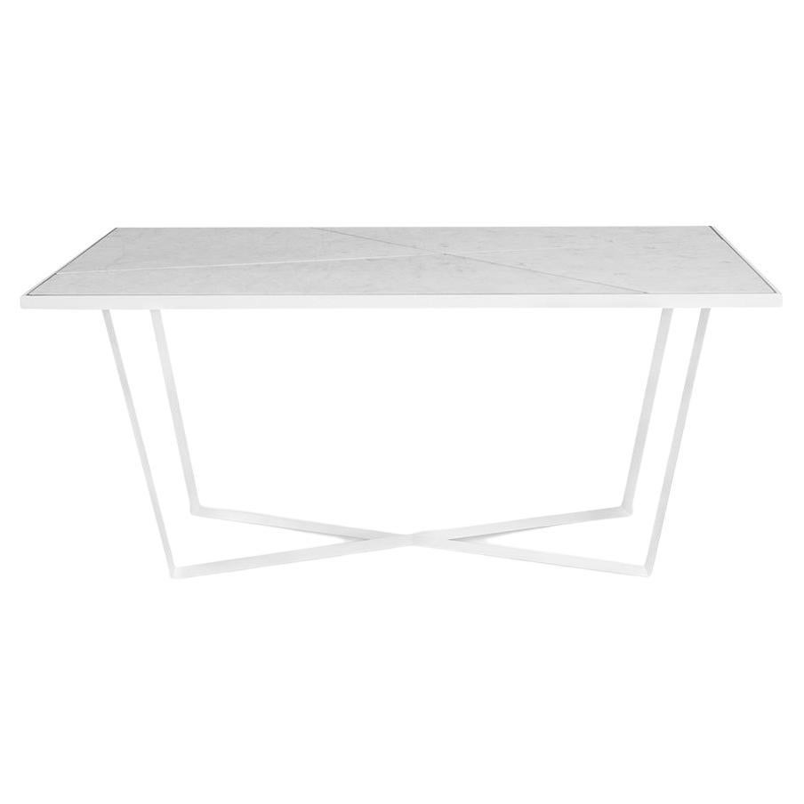 Contemporary Outdoor Dining Table Carrara Marble White Lacquered Stainless Steel