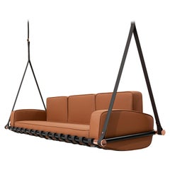 Contemporary Outdoor Hanging 3 Seat Sofa Stainless Steel Waterproof Leather