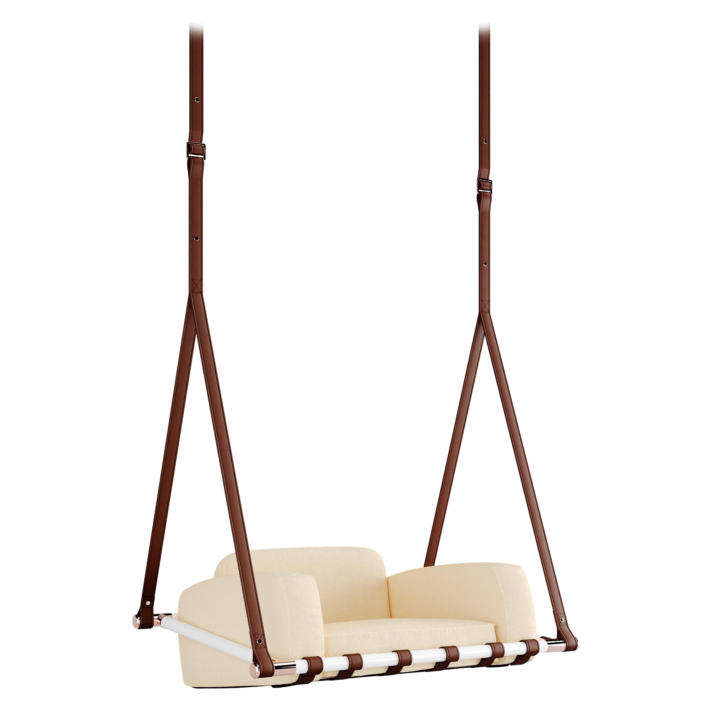 Contemporary Outdoor Hanging Chair Stainless Steel Waterproof Fabric Beige
