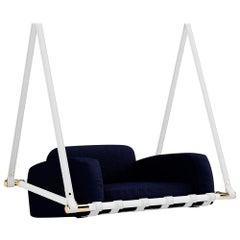Contemporary Outdoor Hanging Chair Stainless Steel Waterproof Fabric Navy Blue