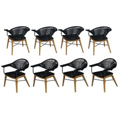 Contemporary Outdoor / Indoor Dining Chairs with Teak and Nautical Rope