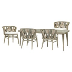 Contemporary Outdoor/Indoor Dining Set, 6 Chairs and Table in Teak Wood