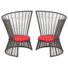 Contemporary Outdoor Lounge Chair Set of 2