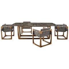 Contemporary Outdoor Marble Dining Table, Six Dining Chairs in Solid Teak