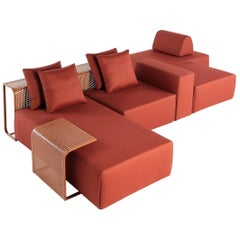 Contemporary Outdoor Modular Sofa with Low Tables