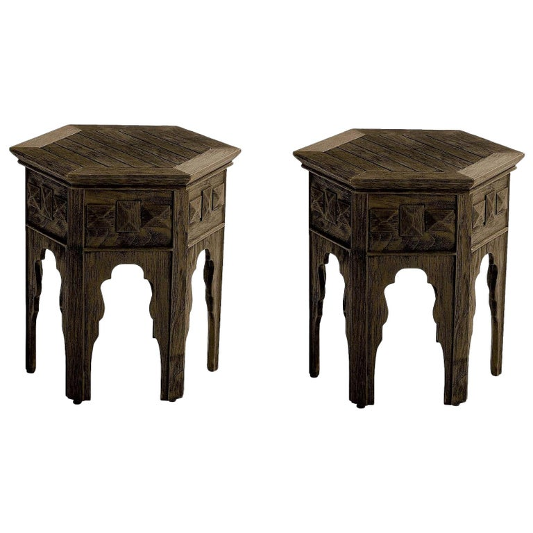 Contemporary Outdoor Moroccan Side Tables, Set of 2 For Sale