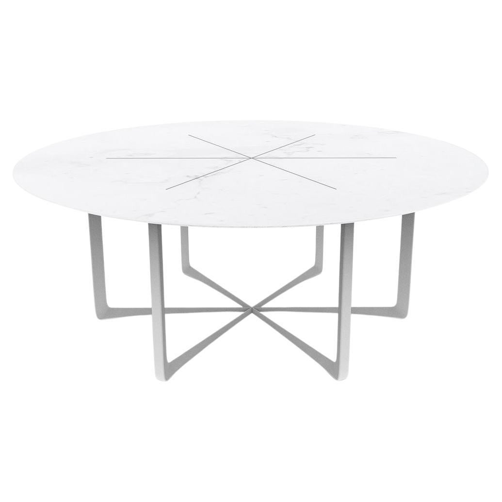 Contemporary Outdoor Round Dining Table Marble White Lacquered Stainless Steel