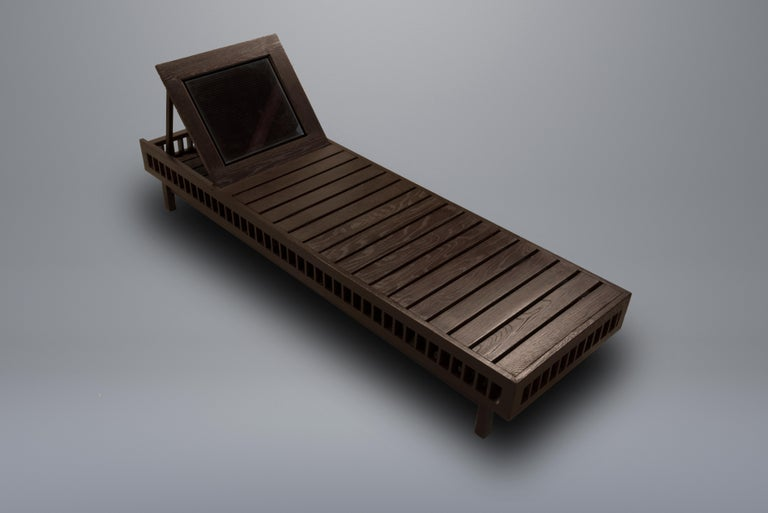 American Contemporary Outdoor Solar Lounger Wooden Slatted with Integrated Lighting For Sale