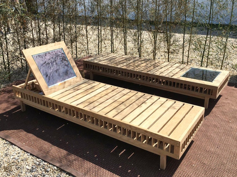 Contemporary Outdoor Solar Lounger Wooden Slatted with Integrated Lighting For Sale 3