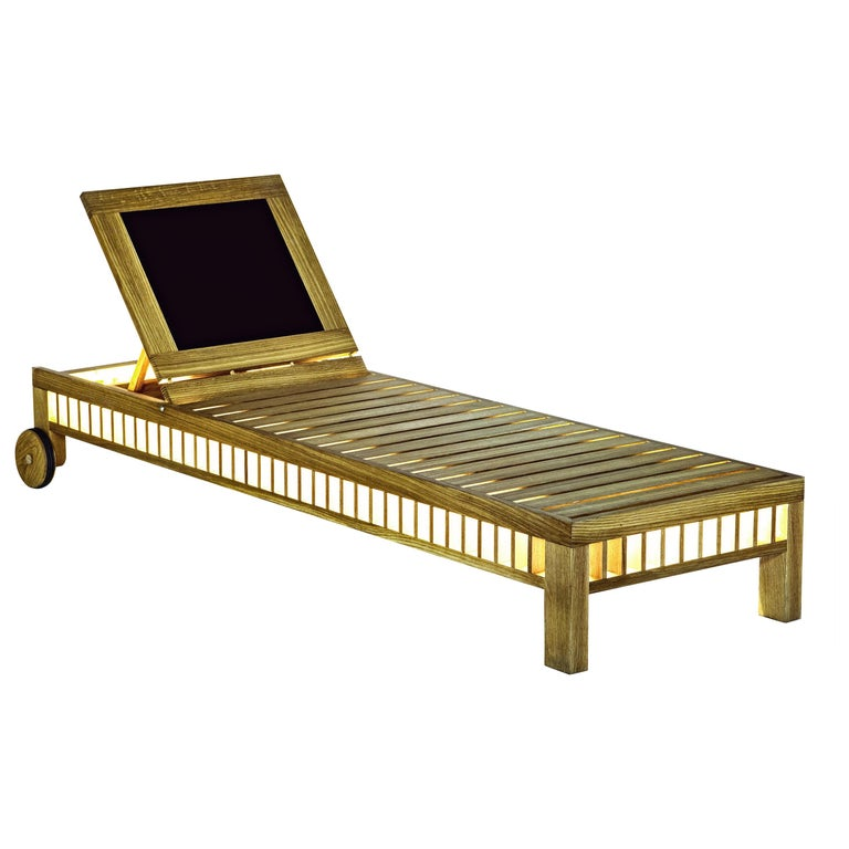 Contemporary Outdoor Solar Lounger Wooden Slatted with Integrated Lighting For Sale