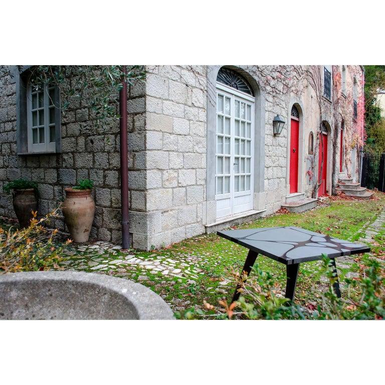 Contemporary Outdoor Square Table in Lava Stone and Steel, Filodifumo For Sale 2