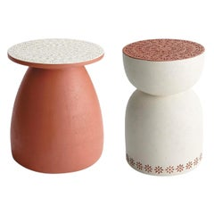 Contemporary Outdoor Stone Side Table Set in Matte Finish