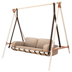 Contemporary Outdoor Swing Sofa Stainless Steel Acrylic Waterproof Fabric Beige