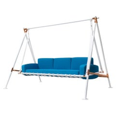 Contemporary Outdoor Swing Sofa Stainless Steel Acrylic Waterproof Fabric Blue