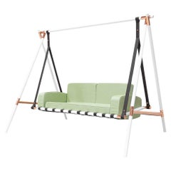 Contemporary Outdoor Swing Sofa Stainless Steel Acrylic Waterproof Fabric Green
