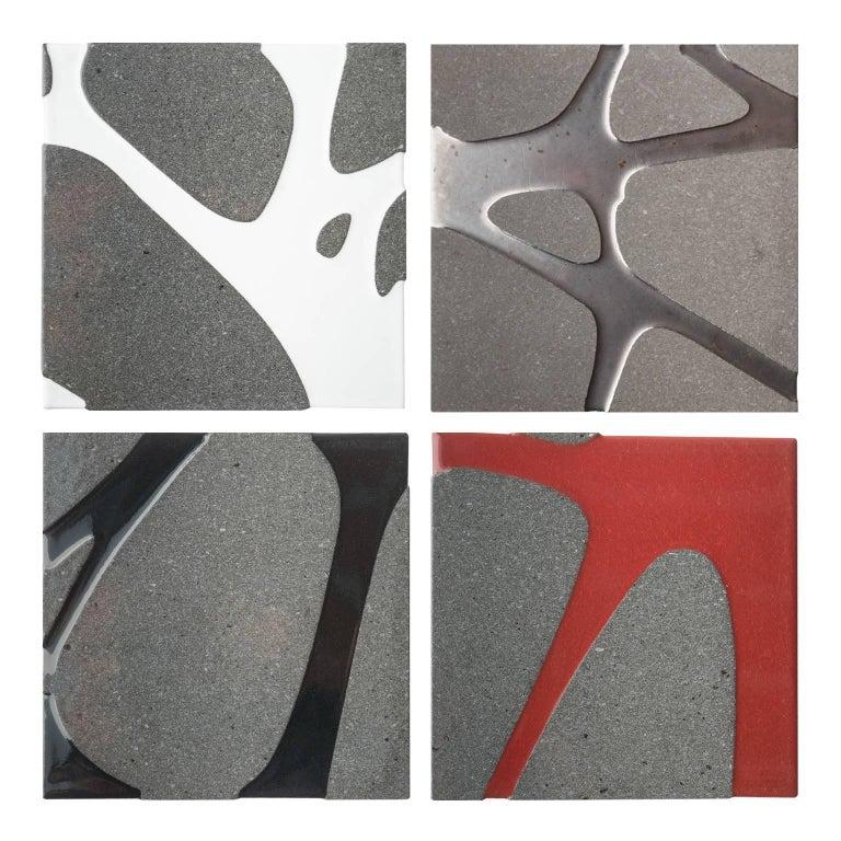 Contemporary Outdoor Square Table in Lava Stone and Steel, Filodifumo For Sale 4
