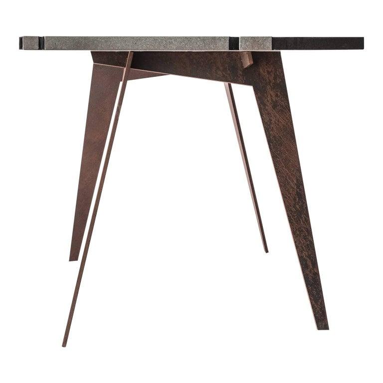 Modern Contemporary Outdoor Square Table in Lava Stone and Steel, Filodifumo For Sale