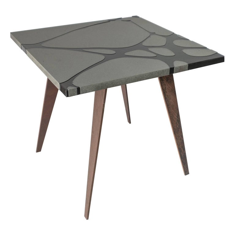 Contemporary Outdoor Square Table in Lava Stone and Steel, Filodifumo